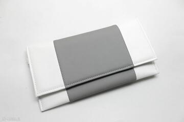 Kopertówka - biała i środek szary torebki niezwykle kopertówka