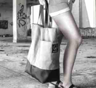 Duża szara torba shopper na zamek ramię monest atelier torba