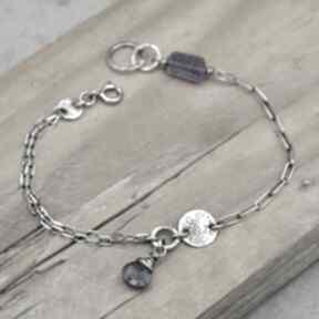 Subtelna srebrna bransoletka z szafirem wodnym 097 grey line