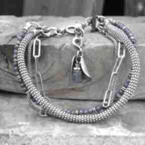 Lapis lazuli - bransoletka arvena srebro oksydowane, lazuli