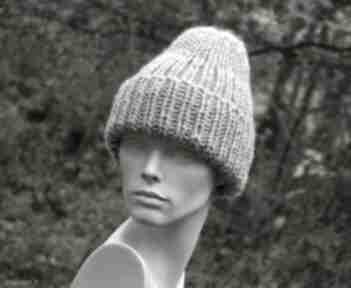 100% wool unisex beżowa wywijana czapa czapki aga made by hand