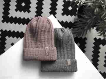 Czapka zimowa wełniana na drutach z wełny merino 100% handmade
