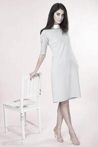 Popielata sukienka ze stójką sukienki kasia miciak design