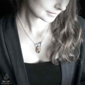 Srebrny naszyjnik plaster miodu z bursztynem naszyjniki