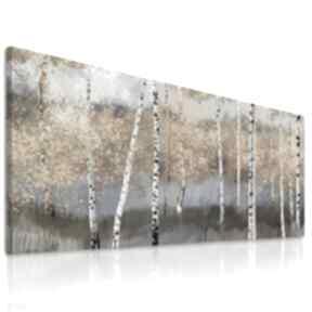 Obraz drukowany na płótnie pejzarz z brzozami w odcieniach