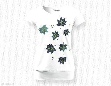 Komfortowa bluzka na lato - ręcznie malowana::listki koszulki