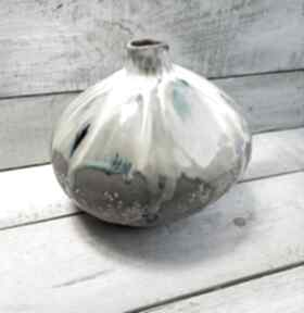 Wazon okrągły w szarości wazony kmdeka ceramiczny, ręcznie
