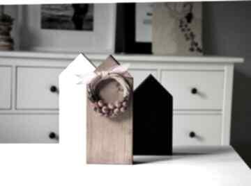 3 domki z wiankiem dekoracje wooden love wianek, domki, domek,