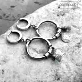 Srebro i kwarc - kolczyki koła boho cocopunk srebrne, oksydowane