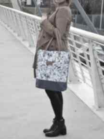 Shopper bag niebieskie litstki torebki czarnaowsianka torba