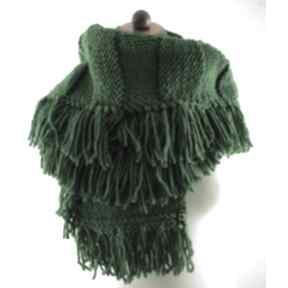 Zielony szal z frędzlami szaliki barska szal, szalik, frędzle