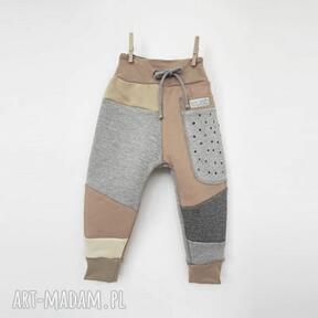 Patch pants spodnie 74 - 104 cm szary & kropki mimi monster dres dla dziecka, dresowe, ciepłe