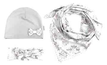 Komplet wiosenny, czapka, chusta i opaska czapki bukiet pasji