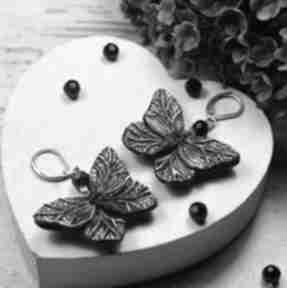 Kolczyki czarne motyle kameleon motyle, motylki, biżuteria
