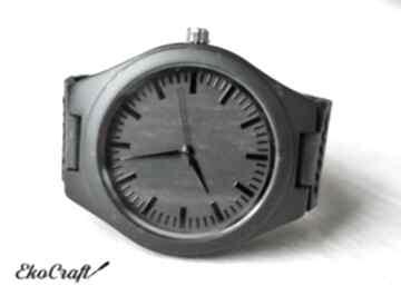 Drewniany zegarek ebony black zegarki ekocraft bambusowy