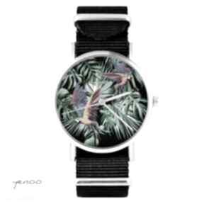 Zegarek - papugi, tropikalny czarny, nato, palmy, liście zegarki