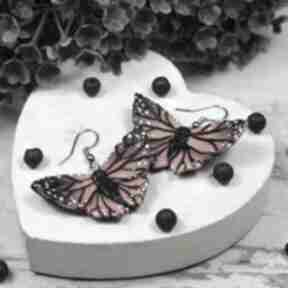 Kolczyki motyle w odcieniach czerwieni i czerni kameleon motyle