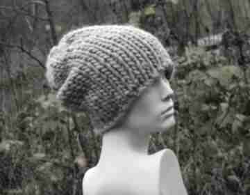czapki! Syberianka beż 100% wool grubaśna czapa