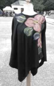 Poncho z dzianiny wełnianej czarne ruda klara poncho, etno, boho