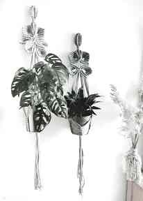 Zestaw kwietnik wiszący motyw flora dekoracje hygge macrame