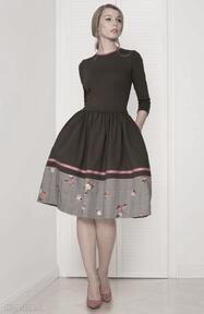 Sukienka rozkloszowana khaki sukienki kasia miciak design
