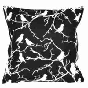 Poduszka bawełnina ptaszki biało-czarne 40x40cm wyprzedaż