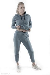 Spodnie dresowe brudny niebieski z nadrukiem 3for u trzyforu