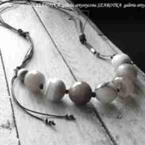 Karmelowe rarytasy naszyjnik z agatu, sznurka i srebra