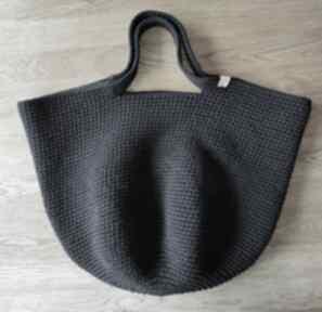 Czarna torba na szydełku big bag ramię wholewool ramię