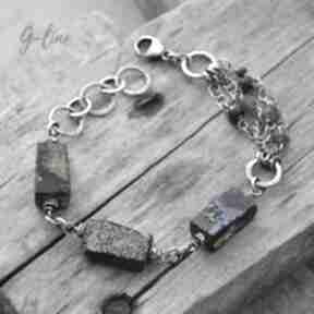 Szkło z afganistanu masywna srebrna bransoletka 084 grey line