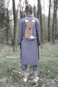 Niebieski lis płaszcze monika jaworska lis, trench, wiązanie