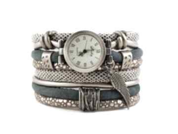 Zegarek-bransoletka w stylu retro, zielono-złoty ze skrzydłem
