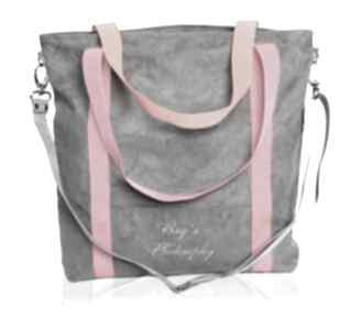 Szara zamszowa torba na ramię z różowymi i pomarańczowymi