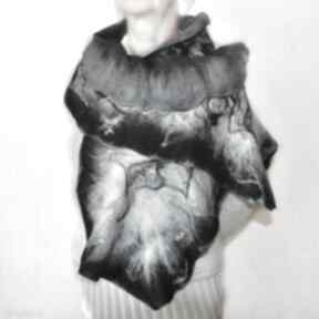 Szal nuno filcowany, wełna z merynosów szaliki aleksandrab szal
