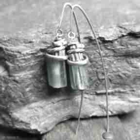 Kolczyki ze srebra i szkła antycznego treendy oksydowane, szkło