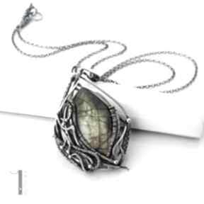 Filix srebrny naszyjnik labradorytem wire wrapping labradoryt