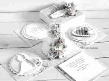 Ślubny exploding-box z tortem - na zamówienie scrapbooking