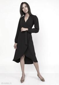 Asymetryczna, kopertowa sukienka, suk160 czarny sukienki lanti