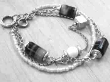 Szaro-beżowa bransoletka z agatami witrazka szaro beżowa