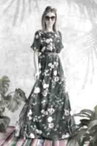 Sukienka zielona maxi w kwiaty sukienki hanka sukienka, maxi