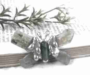 Broszka: delikatny seledynowy motyl broszki witrazka broszka