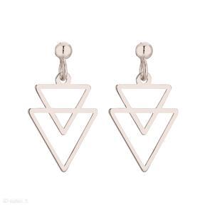 Kolczyki z różowego złota podwójne trójkąty sotho kolczyki,