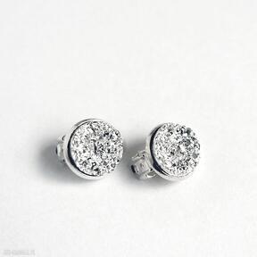 Klipsy - druzy jasno srebrne małe liliarts klipsy, eleganckie