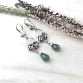 Kropelki na zielono - klipsy jewelsbykt srebro klipsy, srebrne