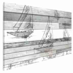 Obraz na płótnie - żaglówka deski shabby chic 120x80 cm 72501