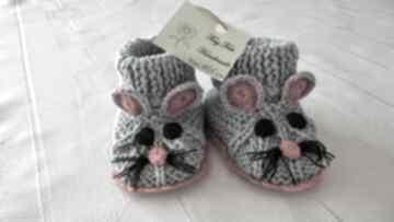 Buciki dziecięce - myszki szaro-czerwone tiny feet buciki
