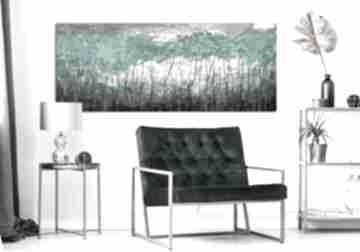 Przepiękny pejzaż do salonu - abstrakcyjne drzewa turkusowy