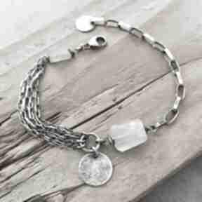 Srebrna bransoletka z akwamarynem grey line project srebro