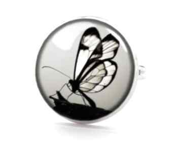 Motyl sepii pierścionek regulowany sepia elegancki prezent