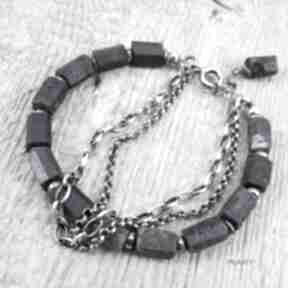 Szafir - surowe bryłki bransoletka 446 irart szafir, srebro